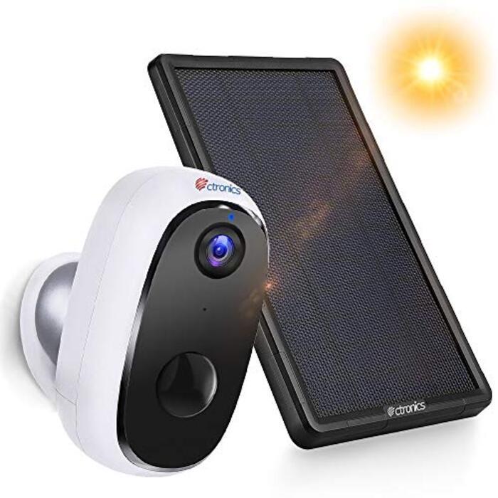 【特製ソーラーパネル・10000mAhバッテリー】Ctronics ワイヤレス カメラ