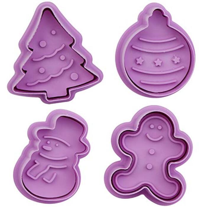 Chermyaa クッキー抜き型カッター4個プレスタイプ (クリスマス)