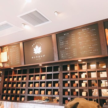 デニッシュ系のパンが好きな方必見!「箕面デニッシュ サトウカエデ」は、デニッシュ食パン専門店。職人が旅先で出会ったメープルデニッシュパンに感動したことから生まれたお店で、メープルの原材料となるサトウカエデから名前を取り、カエデの名所である箕面にお店を構えました。店内に入るとずらりとならぶデニッシュ食パンは圧巻です!