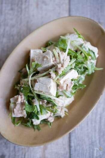 木綿豆腐、ツナ、水菜のシンプルな材料でつくる、たんぱく質豊富なボリュームおかずサラダ。ヨーグルトが入っているので、腸活にもおすすめの一品に。おつまみにもどうぞ。