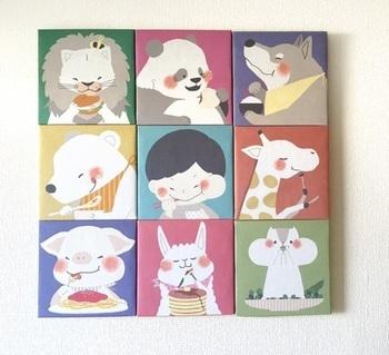 イラストが可愛いミニサイズは組み合わせを楽しんで♪1つ1つ豊かな表情に癒されます。 子供部屋にもいいですね。