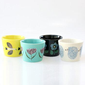人気イラストレーター・松尾ミユキさんのフリーカップ。ポップなカラーリングとかわいらしいデザインで、子ども用の食器として使うのもおすすめです。