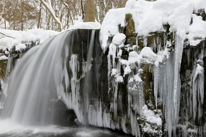 秋の紅葉シーズンで有名な奥入瀬渓流ですが、冬の氷瀑も見応え抜群です。長い渓流沿いには、大小様々な氷瀑があり、冬と大自然が織りなす氷の芸術美を間近で体感することができます。