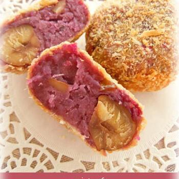 紫芋と栗を使ったまるでおやつのような甘いコロッケのレシピ。紫芋と栗は粗目に潰せば、ゴロゴロと素材本来の食感を味わえます。レモン汁を入れることで、紫芋の紫がより鮮やかな仕上がりになりますよ。