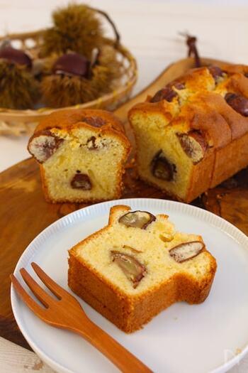 栗の渋皮煮をぜいたくに使ったパウンドケーキのレシピ。栗のゴロゴロとした食感がアクセントになります。ラム酒やブランデーの香りと渋皮煮の味わいが大人のおやつにぴったりです。