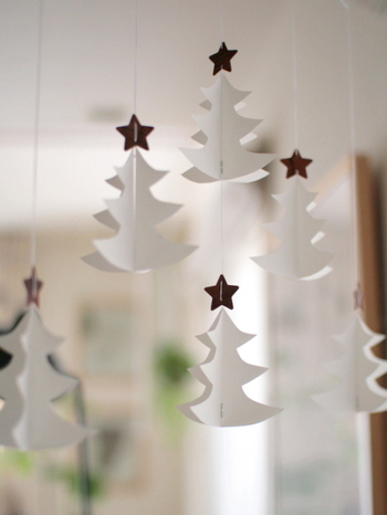 ツリーがない、というときには、ぜひツリー型のモビールを飾ってみてください。一点でクリスマス感を楽しめます。こちらのブロガーさんのように白いツリーを飾ってもおしゃれで素敵ですね♪