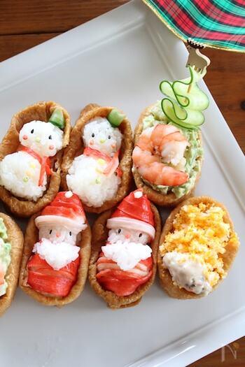 オードブルの中にご飯系の料理も混ぜれば、オードブルだけでもお腹が満たされます。こちらは、とってもかわいいクリスマスデザインのいなり寿司。サンタさんの赤い部分はカニカマ、顔は黒ごまとぶぶあられでできています♪