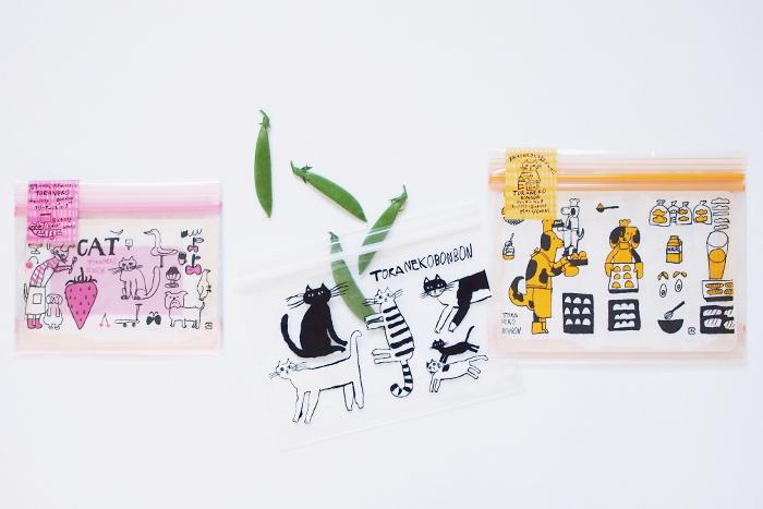 料理人でありイラストレーターでもあるトラネコボンボンさんによる、キュートな動物たちが描かれたフリーザーバッグ。