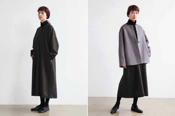 冬もやっぱり着たくなるワンピース。コーディネートに暖かさを加えるウールコートをチョイスして、季節感を取り入れましょう。シンプルでナチュラルなコーデも、きちんと感のあるレディな仕上がりに。よそいきのアウターとしても使えます。