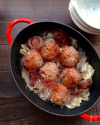 お豆腐が入っていてヘルシーな肉団子。肉団子のタネにもスープにもしょうがが入っていて、ダブルでしょうがを楽しめます。