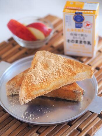 懐かしの給食の味、揚げパンを自宅で。揚げずに油をぬってトースターで焼くだけなので、簡単でカロリーもカットできます。