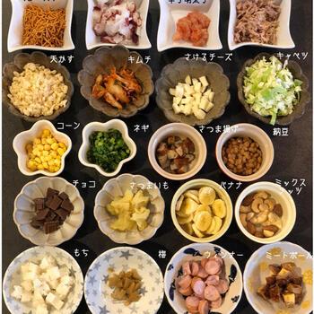 たこ焼きパーティーに最適な、変わり種20種のたこ焼き。明太子や納豆、甘い系ではチョコやバナナなどあり、生地もホットケーキミックスも用意すればしっかりデザートもたこ焼き器で作れます。