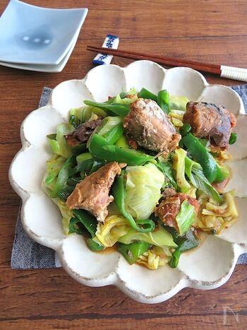 野菜たっぷり♪サバ缶の味噌煮を使った野菜炒めです。ごま油の風味が食欲をそそります。野菜から出る水分でベチャっとならないよう、手早く炒めるのがコツなのだそう。冷蔵庫にある残り野菜の消費にも役立ちそうですね。