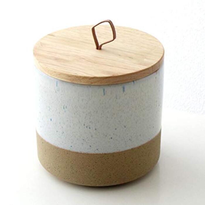 ギギliving|陶器 キャニスター 木製 ふた付き