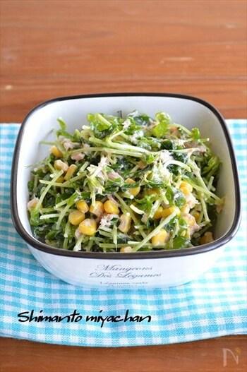 一般的にはキャベツで作るコールスローサラダを、豆苗でアレンジ。めんつゆ&マヨネーズで味付けもラクラク。