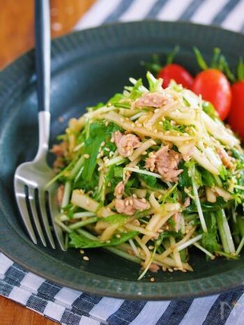 大根と水菜を使った居酒屋風のサラダ。シャキシャキの食感とツナの旨味でやみつきになる味。