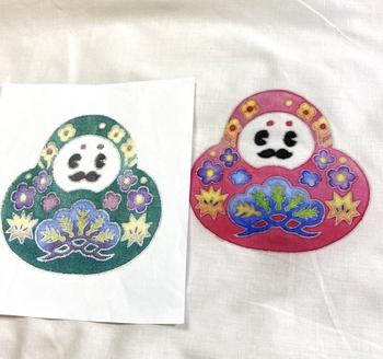 石川県のご当地キャラ「ひゃくまんさん」もこんなに素敵に染め上がります。お土産としてはもちろん、旅の素敵な思い出にもなりますね。