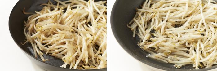 画像左/バーミキュラ フライパンで炒めたもやし 画像右/フッ素コートフライパンで炒めたもやし