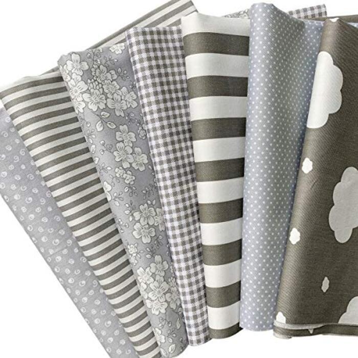 7枚 綿 生地 グレー系 花柄 DIY手芸用 カットクロス パッチワーク布 はぎれ 46×56cm