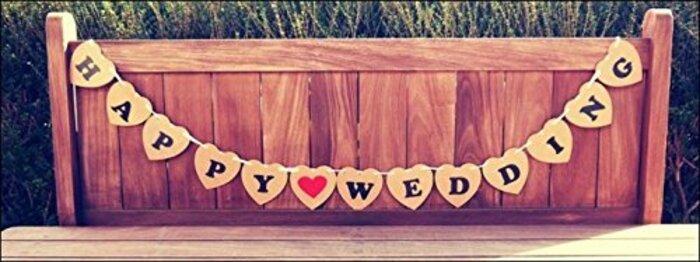 フォトプロップスハートプレート(JUST MARRIED)/(HAPPY WEDING)BROWN