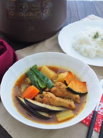 定番料理のカレーも、電気圧力鍋を使えばほったらかし調理が叶います。食材として使用している手羽元も、ほろほろの食感に。  にんじんやじゃがいもを大きめにカットすると、煮崩れを防ぎやすく食べごたえもあるので◎。付け合わせに焼き野菜を添えて、彩りもきれいに仕上げましょう。