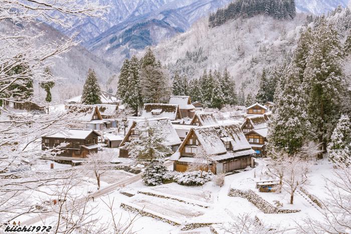 世界遺産に登録されている五箇山は、富山県南砺市にある『合掌造り』と呼ばれる茅葺屋根の民家が軒を連ねる集落です。五箇山は日本有数の豪雪地帯としても知られており、雪の重みで家屋が押しつぶされないように屋根が急勾配になっているのが特徴です。