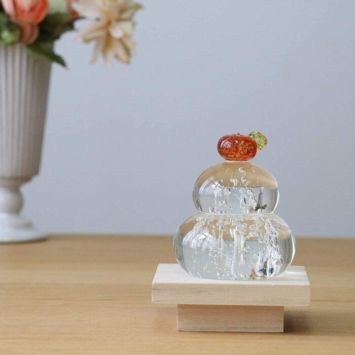 アデリア ガラス 置物 最大8.5cm×高10cm 福重ね 鏡餅 橙 日本製 F-47143