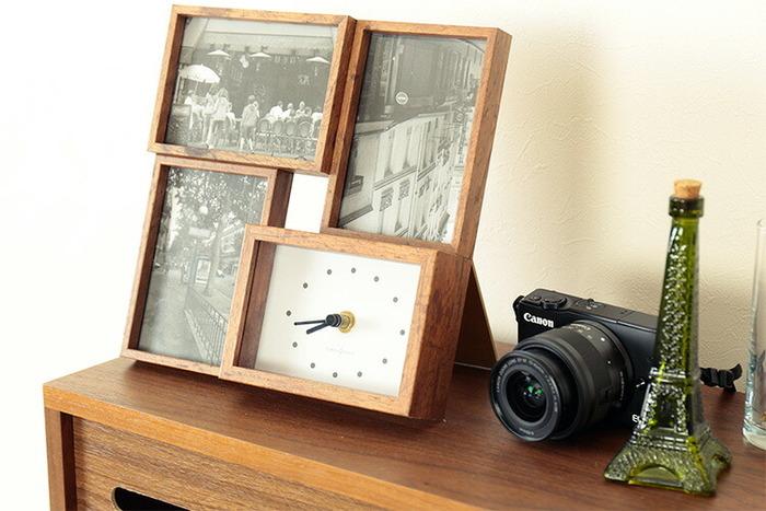 フォトフレームと時計が一緒になった実用性の高いアイテム。時間をチェックするたびに目に入り、写真を眺める機会も自然と増えそうです。