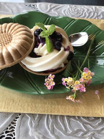 ガーデンで育ったブルーベリーを使ったアイス最中は、甘酸っぱいソースとバニラアイスのハーモニーが楽しめます。食後のデザートにも、ドライブのひと休みにもちょうど良いですね。