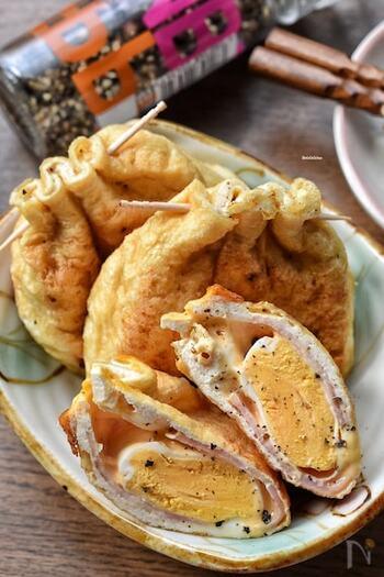 ちょっとクラシカルなイメージのある巾着焼きがパンチのある一品に。冷蔵庫にあるものだけでできるので、あと一品…というときにも便利です。しっかり黄身を固めてお弁当にもおすすめですよ。