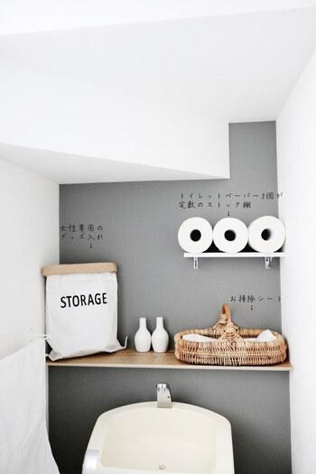 こちらも同じトイレですが、トイレットペーパーは3つ並べて横向きに収納。おしゃれなインテリアに見えるペーパーバッグやかごの中にも、実はサニタリーグッズやお掃除グッズが入っています。トイレットペーパーの置き方や、実用的でおしゃれな収納もぜひ真似したいですね!