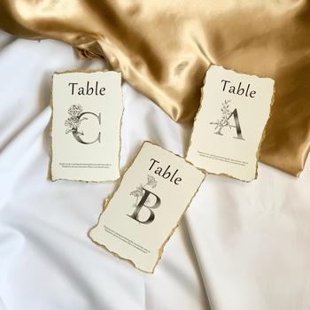 ペーパーを使って作るテーブルナンバーは、誰でも簡単におしゃれな物を作ることができます。こちらはゴールドで縁取られていて、結婚式らしく華やかな印象ですね。ドライフラワーなどをデコレーションしてみても素敵に仕上がりそうです♪