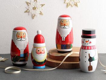 一点一点ハンドメイドで作られているマトリョーシカのクリスマスバージョン◎4つの種類があるので、思わず集めたくなってしまう可愛さですよね。このとぼけた表情に毎年クリスマスが来るたびに癒されてしまうはず!
