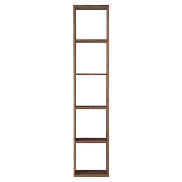 無印良品 スタッキングシェルフ・5段・ウォールナット材 幅42×奥行28.5×高さ200cm 37265646