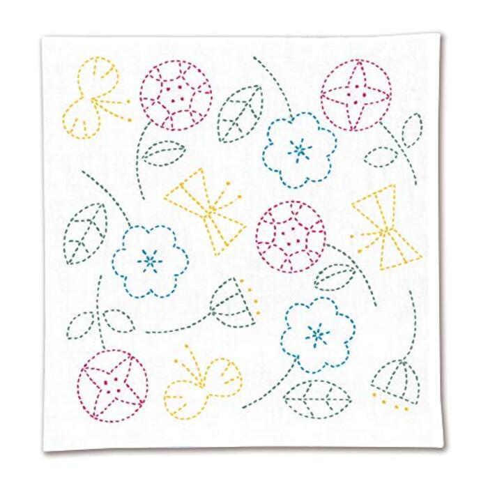 オリムパス 刺し子キット 北欧モチーフの花ふきん フラワー SK-326