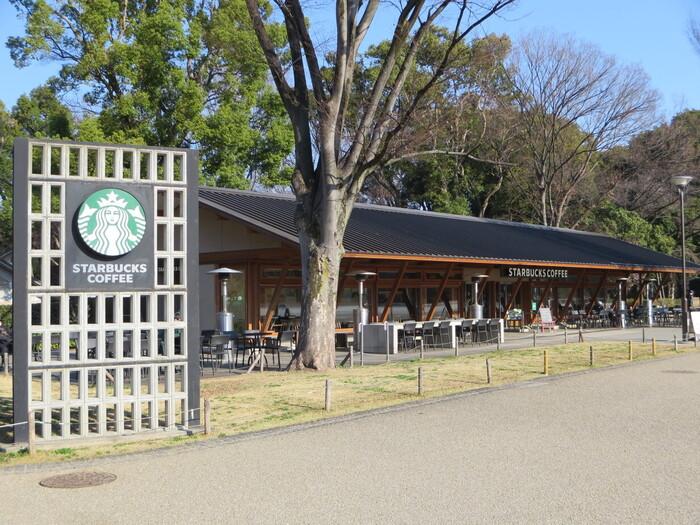 動物園正門の目の前、上野公園の中心といっても過言ではない便利なロケーションにあるのが、「スターバックス上野恩賜公園店」。本記事でご紹介した博物館や美術館のいずれからもアクセス抜群です。  朝8:00のオープンなので、お目当ての施設が開く前にあえて早めに訪れて、のんびり朝食をとりながら上野公園での1日をスタートするのもいいですね。