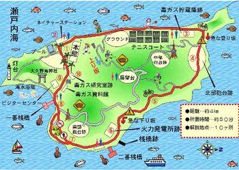 こちらは島内散歩道マップ。休暇村本館や展望台、海水浴場、ビジターセンターなど見所も豊富で、約50分ほどで島を一周できます。