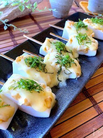 淡白なはんぺんが美味しいおつまみに!柚子胡椒×マヨネーズ×チーズは間違いない美味しさ。熱々のはんぺんと冷えたビールを合わせて頂きましょう♪