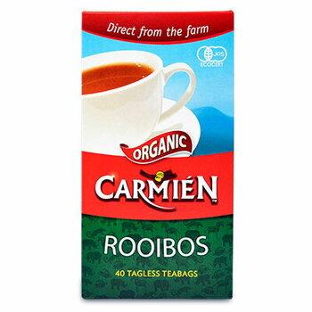 南アフリカ共和国の有機ルイボス茶を使用している「カーミエン」。本国南アフリカはもちろん、世界中で親しまれているオーガニックのルイボスティーメーカーです。  そのカーミエンの代表的商品がこちらの「オーガニックルイボスティー」。カルディやコストコでも取り扱っているそうですよ。  「2.5g」×40袋入っていて、「2.5g」のティーバッグで、水出しなら1L分作れます。コスパが良いので、仕事場やお家へのストック用としてもおすすめです。