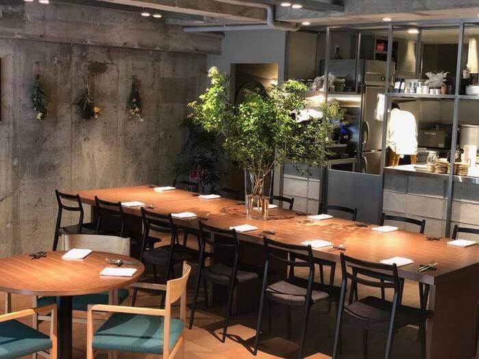 打ちっぱなしのコンクリート壁がスタイリッシュな店内。木と緑の温もりも感じられるので、肩肘張らずにゆったりと過ごすことができます。