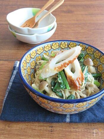 切干大根に小松菜、きのこと身近な食材を使い、日々の栄養補給にぴったりの簡単和総菜です。味付けは焼肉のタレ&ごま油でラクラク。