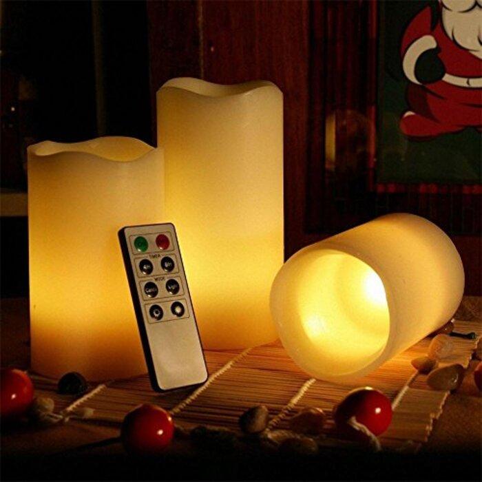 Kohree LEDキャンドルライト タイマー機能 2年安心サービス【S・M・L 3個セット】