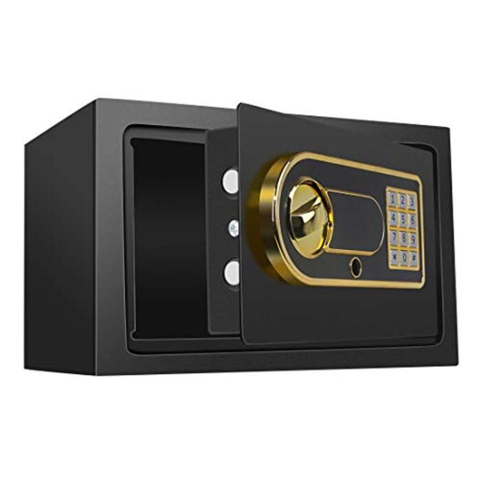 2020年最新 金庫 6.3KG 小型 デジタル テンキー式 警報アラーム付き 専用鍵2本 緊急電池ボックス 日本語説明書 1年間安心保証 (12.4L)
