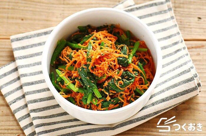 ほどよく甘さがあって、お子さんでも食べやすい味。緑とオレンジで食卓やお弁当の彩りにもなる一品です。