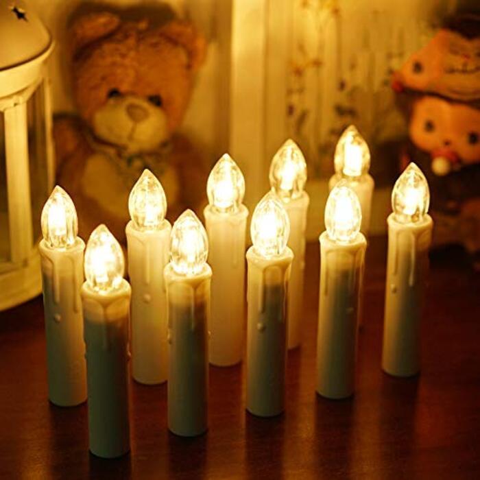 BlueFire LEDキャンドルライト 電池式 10本 (ホワイト)