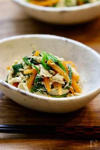 たんぱく質と緑黄色野菜をまとめて摂れる、低カロリー&栄養バランスのとれた一品。お財布にも体にも優しい。