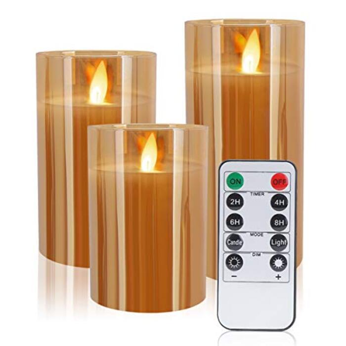 MOKAKA キャンドルライト LEDグラス リモコンとタイマー付き (3個セット) (ゴールド)