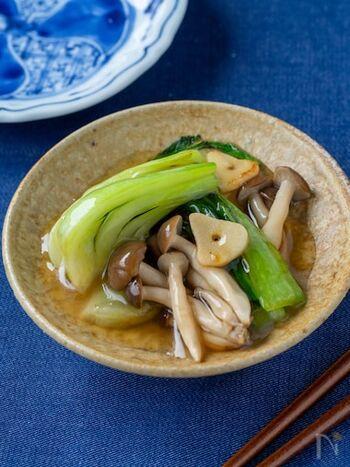 とろみのあるタレがよくからんでおいしい一品。優しい味付けですが、にんにくを入れてスタミナアップ。