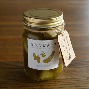 和風テイストのピクルスは、生姜の爽やかな香りがアクセント。歯ごたえの良いきゅうりとの相性抜群で、お漬け物感覚で食べられますよ。