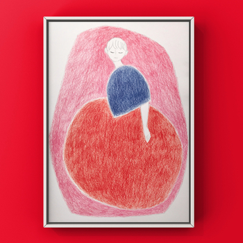 色味も少なくデフォルメされた人物画ですが、温かみと可愛らしさにあふれています。 シンプルなお部屋に飾りたいアートな1枚です。
